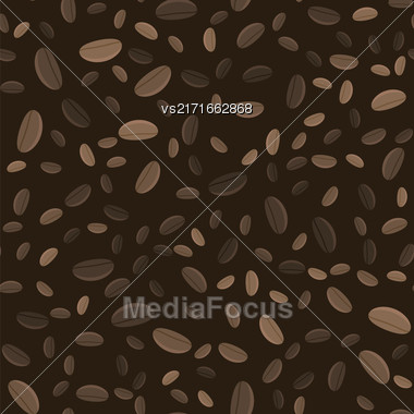 Coffe Beans Seamless Pattern On Brown Background Stock Photo