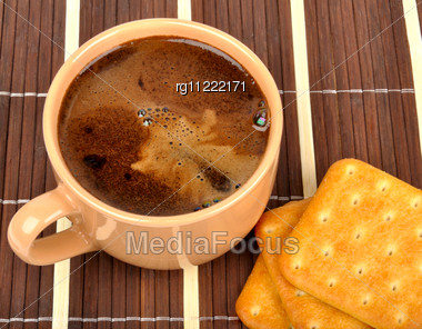 Coffee And Crackers Stock Photo