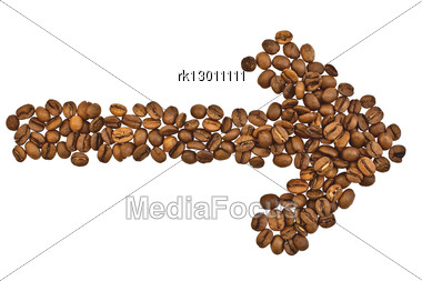 Coffee Beans In The Form Of Arrows Stock Photo