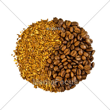 Coffee Beans And Grains As A Symbol Isolated Stock Photo
