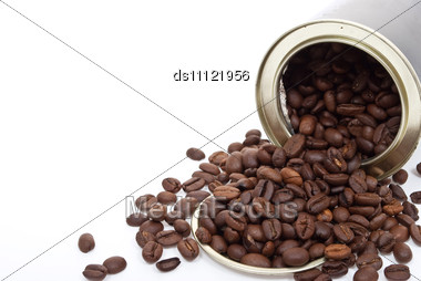 Coffee Beans In Tin Can Stock Photo