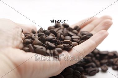 Coffee Beans On The Hand Stock Photo