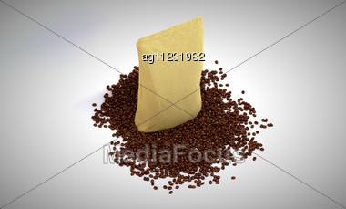 Coffee Beans And Pack Over Grey Background Stock Photo