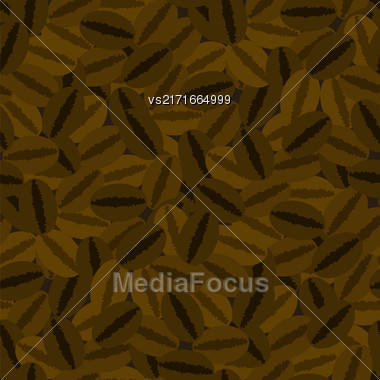 Coffee Beans Seamless Pattern On Brown Background Stock Photo