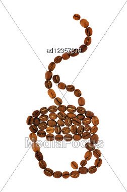 Coffee Cup With Aroma Smoke Made From Beans Stock Photo