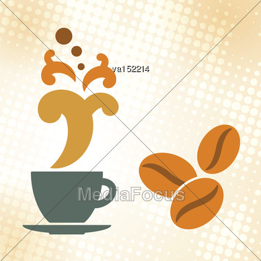 Coffee Cup Beans As Coffee Time Background Vector Illustration Stock Photo