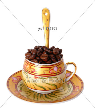 Coffee Cup Is Taken Pictures On Subject Table Under Artificial Illumination Stock Photo