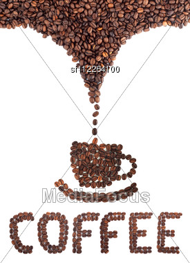 Coffee Cup Made Of Beans Stock Photo