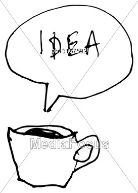 Coffee Cup Symbol With Idea Word In Speech Bubble. Hand-drawn Illustration Stock Photo