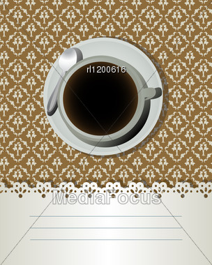 Coffee Cup And Text Label, Decorative Card For Bar, Bistro. Stock Photo