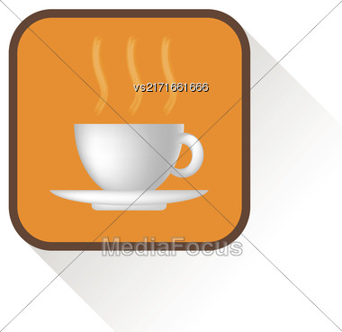 Coffee Icon Isolated On White Background. Long Shadow Stock Photo