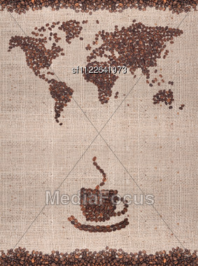 Coffee Map Made Of Beans Stock Photo