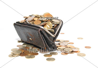 Coins In Purse Stock Photo
