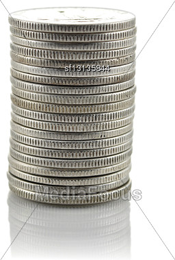 Coins Stack Isolated On White Background Stock Photo
