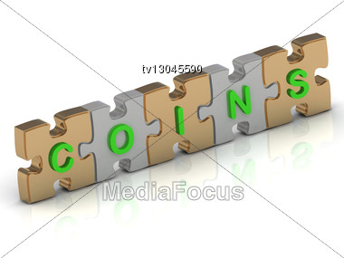 COINS Word Of Gold Puzzle And Silver Puzzle Stock Photo