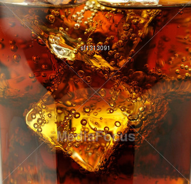 Cola With Ice Cubes Close Up Stock Photo