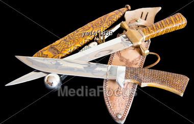 Cold Weapon On Black Background Stock Photo