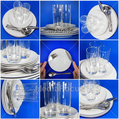 Collage Of Glasses, Plates, Covers On Blue Background Stock Photo