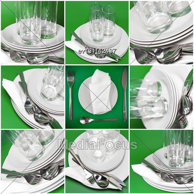 Collage Of Glasses, Plates, Covers On Green Background Stock Photo