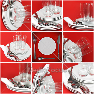 Collage Of Glasses, Plates, Covers On Red Background Stock Photo