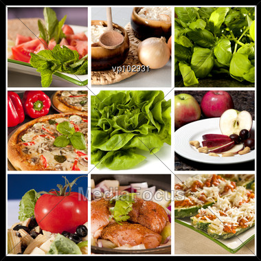 Collage Of Nine Different Food Types In The Same Picture Stock Photo