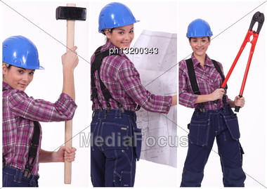 Collage Of A Tradeswoman At Work Stock Photo