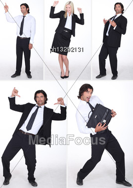 Collage Of Business Professionals Having Fun Stock Photo