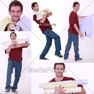 Collage Of A Man Carrying Wallpaper Rolls Stock Photo