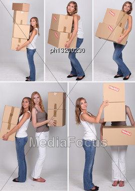 Collage Of Women On Moving Day Stock Photo