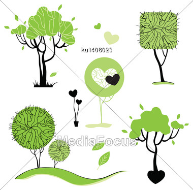 Collection Of Abstract Trees. Vector Illustration Isolated Stock Photo