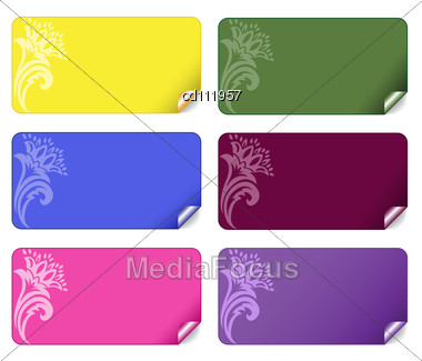 Collection of beautiful multi colored stickers with an ornament stock photo