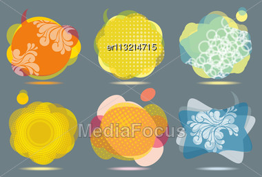 Collection Of Colorful Speech And Thought Bubbles Background Vector Stock Photo