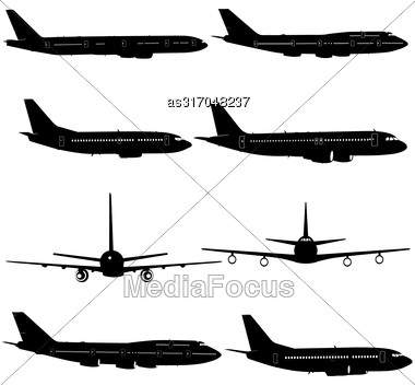 Collection Of Different Aircraft Silhouettes. Vector Illustration Stock Photo