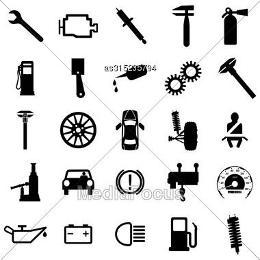 Collection Flat Icons. Car Symbols. Vector Illustration Stock Photo