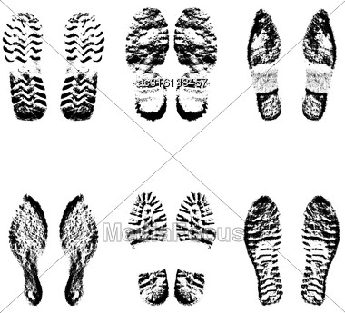 Collection Imprint Soles Shoes Black Silhouette. Vector Illustration Stock Photo