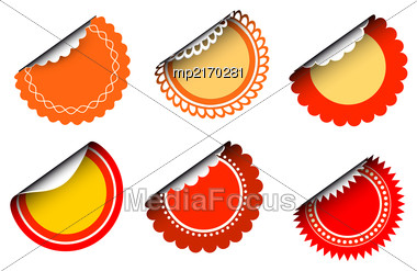 Collection Of Round Vintage Labels With Curved Edges. Vector Set On White Background Stock Photo