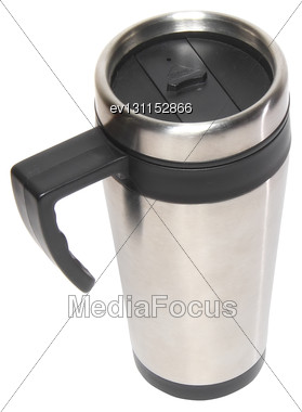 Collection (set) Of Heat Protection-thermos( Steel Travel) Coffee Mug Isolated On White Stock Photo