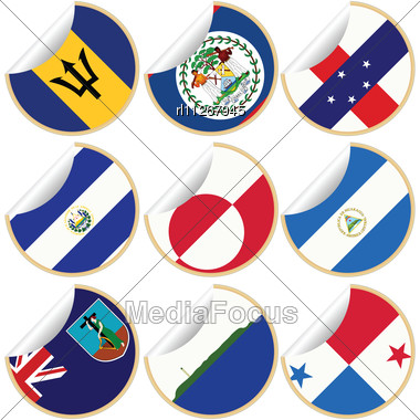 Collection Of Stickers/labels With Country Flags From North- Central And South America, Set 2 Stock Photo