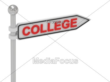 COLLEGE Arrow Sign With Letters Stock Photo