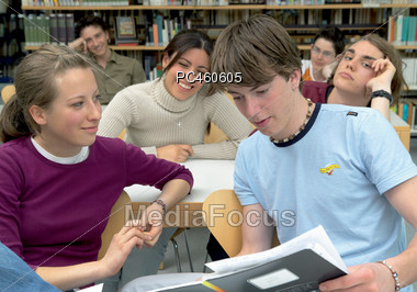 College Students In Classroom Stock Photo