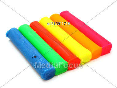Color Children's Plasticine Lies Stock Photo