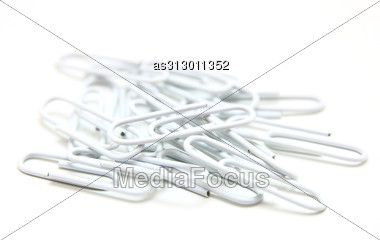 Color Paper Clips To Background. Stock Photo