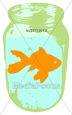 Color Silhouette Of Aquarium Fishin A Jar With Water On White Background Stock Photo