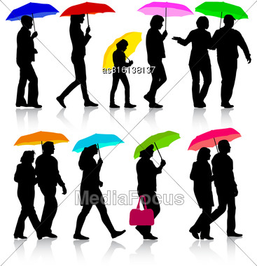 Color Silhouettes Man And Woman Under Umbrella. Vector Illustrations Stock Photo