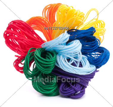 Color Threads Bunch Isolated On White Background Cutout Stock Photo