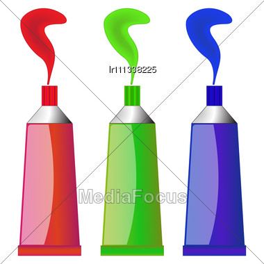 Color Tubes Against White Background, Image Contains Gradient Mesh And Transparency Stock Photo