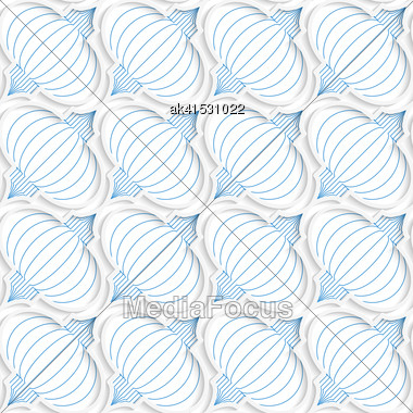 Colored 3D Blue Diagonal Chinese Lanterns.Seamless Geometric Background. Modern 3D Texture. Pattern With Realistic Shadow And Cut Out Of Paper Effect Stock Photo