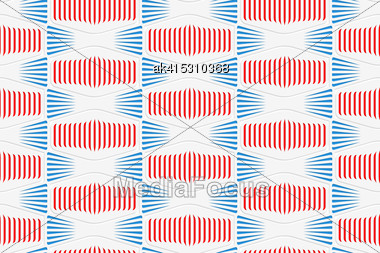 Colored 3D Red And Blue Striped Squished Hexagons.Seamless Geometric Background. Modern 3D Texture. Pattern With Realistic Shadow And Cut Out Of Paper Effect Stock Photo