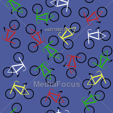 Colored Bicycles Silhouettes Seamless Pattern On Blue Background Stock Photo