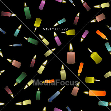 Colored Burning Wax Candles Seamless Pattern Isolated On Black Background Stock Photo